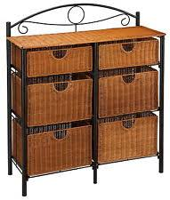 Bathroom Basket Drawers Wooden 3 Basket Chest Home Storage Unit Bathroom Wicker Drawers Ebay