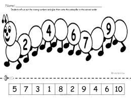 caterpillar missing numbers 0 10 math worksheets worksheets and