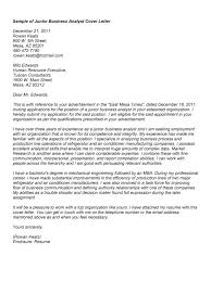 junior business analyst cover letter 4184