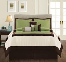 green bed set brown and green comforter set casual look bedroom design with