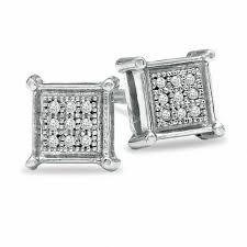 pagoda earrings men s diamond accent pavé square earrings in sterling silver