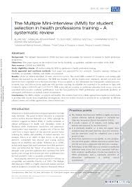 Pcat Essay Samples The Multiple Mini Interview Mmi For Student Selection In Health