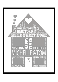 New Home Gift by New Home Gift Personalised Print Framed Typography Printed