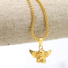 gold necklace with charm images Angel baby charm necklace gold chain men necklace angel pendant jpg