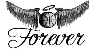 black ink basketball with angel wings tattoo design by tim