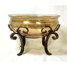 luster decorative glass bowl w iron stand upscale consignment