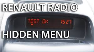 renault radio hidden menu diagnostic tests clio megan laguna