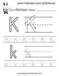 Free Alphabet Tracing Worksheets Preschoolers Can Color In The Letter K And Then Trace It Following