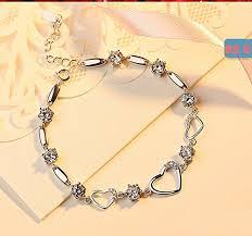 bracelet women images Sterling silver bracelet women heart hand chain authentic crystal jpg