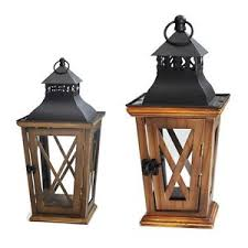small and large faux wood candle lanterns candleholders wooden