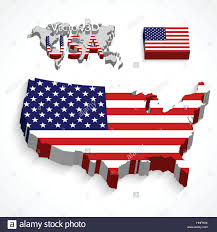 Flags Of America States United States Of America 3d Map And Flag Transportation And