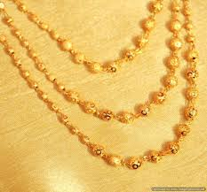 gold plated bead necklace images Buy gold plated 3 line bead necklace online jpg