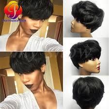 shortcut for black hair hot sale celebrity wig machine made shortcut human hair none lace