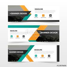 layout banner template orange green triangle abstract corporate business banner template