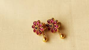 kempu earrings light weight ruby and gold earrings designs