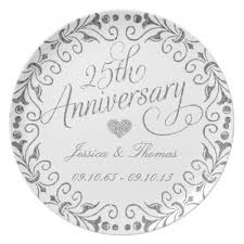 25th anniversary plates 25th wedding anniversary melamine plate zazzle