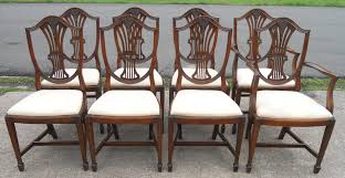 sold set of eight shieldback mahogany dining chairs