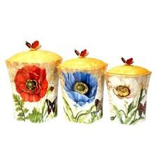 sunflower kitchen canisters floral ceramic kitchen canisters for less overstock