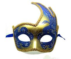 mascarade mask gold masquerade mask with vibrant blue swan