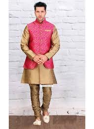 kurta colors buy gold color designer wear kurta pajama with pink jacket kurta