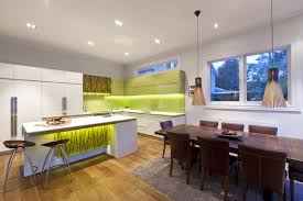kitchen bamboo accented modern kitchen island with exposed rack
