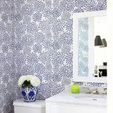 powder room with navy ikat wallpaper contemporary bathroom