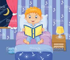 Das Schlafzimmer Clipart Comic Lttle Boy Lesen Geschichten Bett Zeit Vektor Illustration