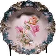rs prussia bowl roses rs prussia cake plate with pink roses prussia pink roses and
