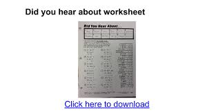 Did You Hear About Math Worksheet Did You Hear About Worksheet Docs
