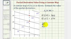 Plot Map Ex Estimate The Value Of A Partial Derivative Using A Contour Map