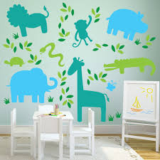 Restickable Wallpaper by Jungle Animal Wall Decals Animal Decals For Walls