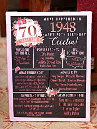 PRINTED 70th birthday poster Back in 1948 What Happened in 1948