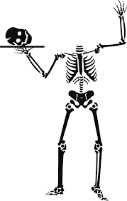 skelton with skull on a platter free halloween vector clipart