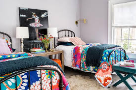 black twin beds with colorful bedding contemporary u0027s room
