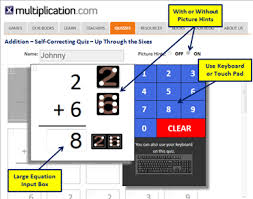 addition self corrected quizzes multiplication com
