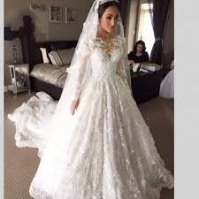 viamns new arrival lace long sleeve muslim wedding dress 2016