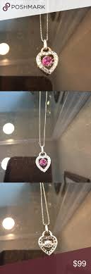 sapphire sterling silver necklace images Kay jeweler pink sapphire heart necklace kay jewelers white png