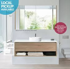melamine bathroom cabinets eden 1200mm white oak timber wood grain wall hung vanity with