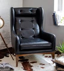 buy manhattan high back wing chair in black colour by studio ochre
