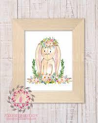 Rabbit Home Decor Bunny Rabbit Woodland Boho Bohemian Garden Floral Nursery Baby