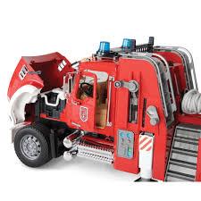 bruder fire truck the water spraying 3 1 2 foot ladder fire engine hammacher schlemmer