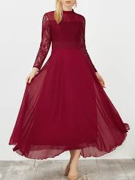 lace panel chiffon swing long prom dress wine red xl in maxi