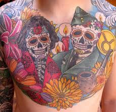 winged sugar skull on chest