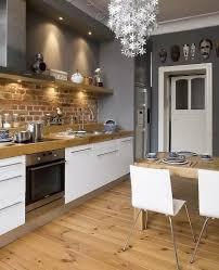 tabouret cuisine bois carrelage mural en brique blanche meuble bas de cuisine bois noir