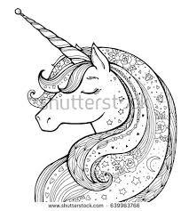unicorn magical animal vector artwork black stock vector 639963766