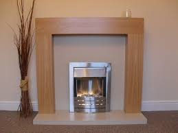 electric silver fire fireplace oak wood surround cream stone