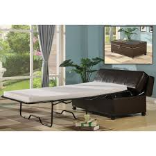 Ottoman Sleepers Brown Faux Leather Pull Out Sleeper Ottoman With