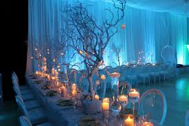 light blue wedding decoration with candleswedwebtalks