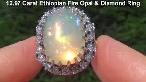 natural white opal estate 12 97 carat welo ethiopian fire opal 18k white gold diamond