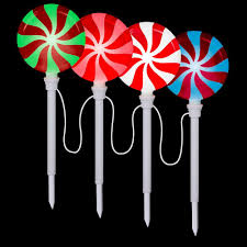 Outdoor Christmas Decorations Light Show by Lightshow Lollipop Pathway Stake Set Of 4 80287 The Home Depot